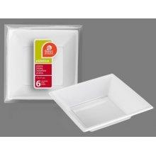 Bolsa de 6 Platos Hondos Cuadrados de plástico Blanco 17cm 242600 (1 ud) (OUTLET)