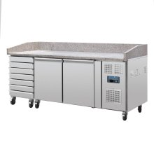 Mostrador de pizzas mesa mármol 2 puertas y cajones con compresor lateral CT423 POLAR