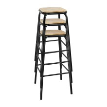 Taburete alto acero negro y asiento de madera DE482 Bolero (Juego 4)