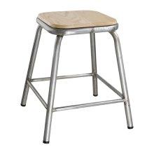 Taburete bajo acero galvanizado asiento madera DE478 Bolero (Juego 4)