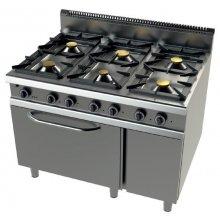Cocina a gas modular 6 fuegos con horno y válvula termostática 1200x900x900h mm FO9C601VT