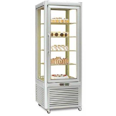 Armario refrigerado Especial Pastelería 4 caras de cristal 400 litros con 4 estantes rotativos EUROFRED PRISMA400RTN
