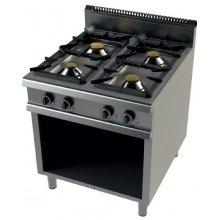 Cocina a gas con horno GN2/1 de 4 fuegos 4,5+8+2x6Kw Serie 900 JUNEX con medidas 800x900x900h mm 9401/3