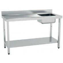 Mesa de Trabajo Acero Inoxidable CON Cubeta CON Estante de 1400 x700 x850h mm MCIC714