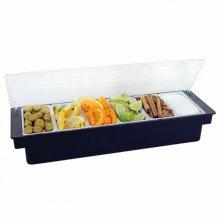 Dispensador de condimentos con 6 compartimentos Color Negro de 49.5x15.7x9cm 133.58 GDP (1 ud)