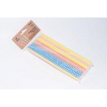 Bolsa 48 Cañas Papel rectas Rayadas surtidas 4 colores 20x6mm 001010522 Betik (unid)