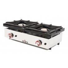 Cocina a gas de 2 fuegos de 6 + 6 Kw con medidas 810x457x240h mm 80CG