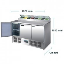 Mostrador de Elaboración de Pizzas y Ensaladas de 3 puertas en Acero Inoxidable de 390 Litros G605 POLAR