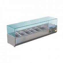 Vitrina Refrigerada de Acero Inoxidable con cubierta de vidrio para 6 cubetas Gastronorm GD876 POLAR