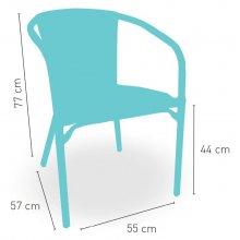 Sillón armazón aluminio color dark bambú tejido plastic 4 mm médula bicolor ESTOCOLMO
