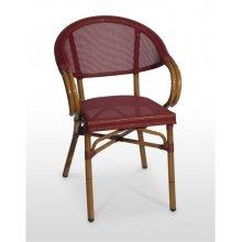 Sillón armazón aluminio 28x1,5 color dark bambú, asiento y respaldo Textilene VALONA