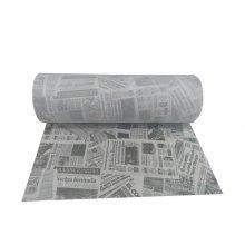 Rollo de Mantel Tnt Decorado de 0,4x48m Precortado a 30cm Blanco Prensa negro NRPD40BR HOSTELCASH (1 ud)