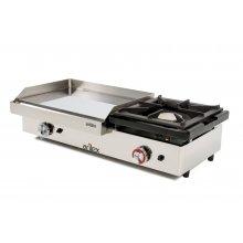 Plancha a gas 60 cm en acero 15 mm con baño cromo duro + fogón 6 Kw con medidas 1010x457x240h mm 100PGCF(OUTLET)