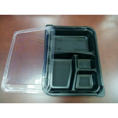 Pack 50 uds Cofres 4 compartimientos 24,2x18,2x4,5cm Negro + Tapa transparente 165.83 GDP (1 pack)