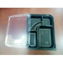 Pack 50 uds Cofres 4 compartimientos 27x20,6x5cm Negro + Tapa transparente 165.84 GDP (1 pack)