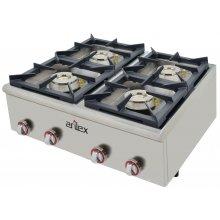 Cocina a gas serie PLUS fondo 75cm de 4 fuegos de Doble corona y llama piloto con potencia 2x7,5 + 2x4,5 Kw 80CG75PLUS