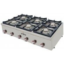 Cocina a gas serie BASIC fondo 75 cm de 6 fuegos con potencia 6X6 Kw 120CG75BASIC