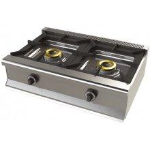 Cocina a gas sobremesa de 2 fuegos 8+8 Kw SerIe 550 JUNEX con medidas 800x550x240h mm 6200B/1