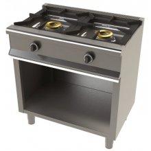 Cocina a gas con mueble de 2 fuegos 8+8 Kw SerIe 550 JUNEX con medidas 800x550x850h mm 6200/1