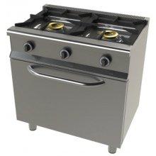 Cocina a gas con horno + grill GN1/1 4,5 + 1,7Kw, 2 fuegos 8+8 Kw SerIe 550 JUNEX con medidas 800x550x850h mm 6201G/1