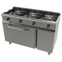 Cocina a gas con horno + grill GN1/1 4,5 + 1,7Kw, 3 fuegos 8+8+8 Kw SerIe 550 JUNEX con medidas 1200x550x850h mm 6301G/1