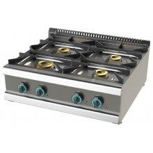 Cocina a gas sobremesa de 4 fuegos 8+4'5+6+6 Kw SerIe 700 JUNEX con medidas 800x730x240h mm FO7N400B