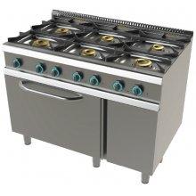 Cocina a gas con horno GN2/1 de 6 fuegos 2x8+4,5+3x6 Kw SerIe 700 JUNEX con medidas 1200x730x900h mm FO7N601