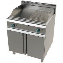 Frytops a gas acero laminado placa lisa-acanalada con mueble Serie 900 JUNEX de 800x900x850h mm FT9C0LC