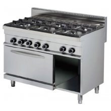 Cocina a gas 6 fuegos 6x6kw con horno de 6Kw1200x700x900h mm GR732 ARISCO
