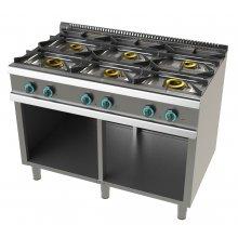 Cocina a gas con mueble de 6 fuegos 2x8+4,5+3x6 Kw SerIe 700 JUNEX con medidas 1200x730x900h mm FO7N600
