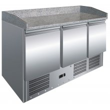 Mesa GN1/1 de 3 Puertas Preparación Pizzas con Encimera de Granito de 1365x700x1010h mm S903PZ